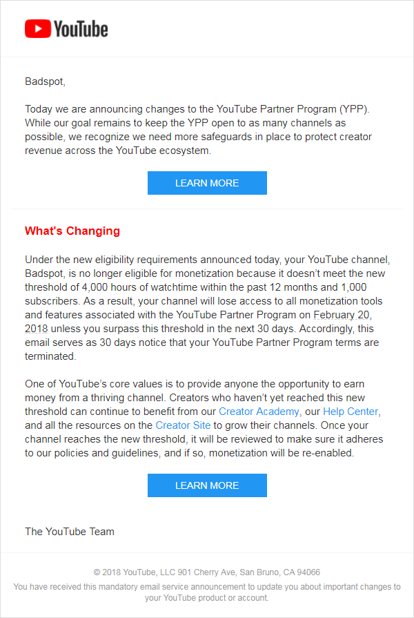 Youtube Partner Program Email